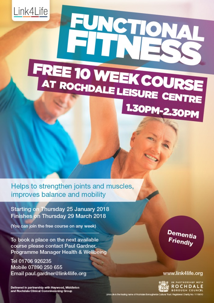 10 week Functional Fitness Class Course at Rochdale Leisure Centre starting in January 2018