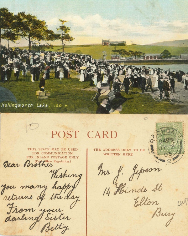 Old post card of Hollingworth Lake