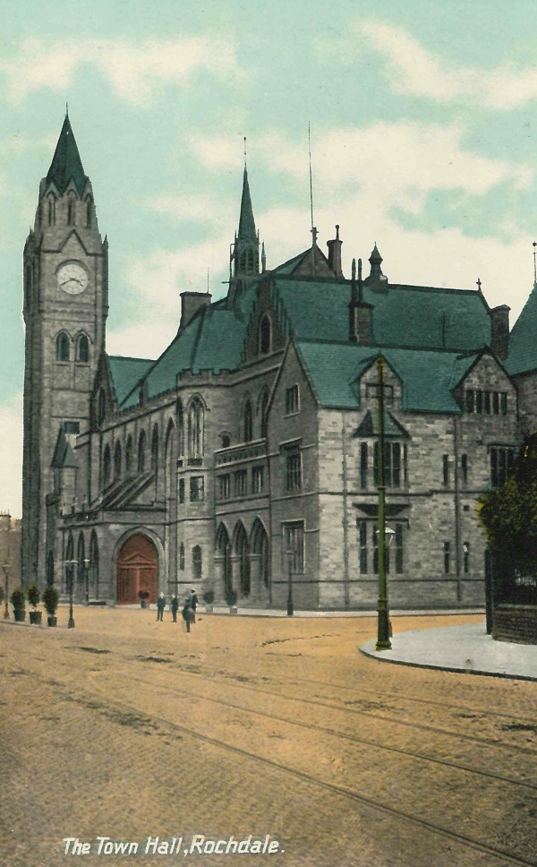 Old postcard of Rochdale Town Hall