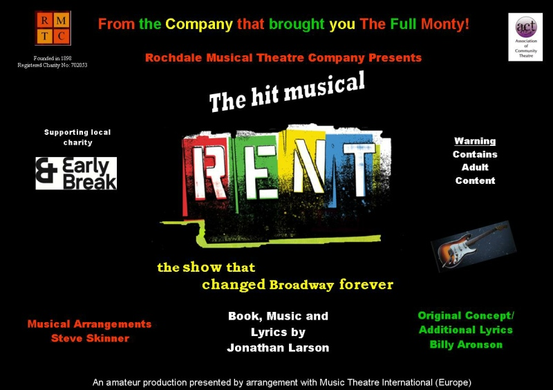 Rochdale Musical Theatre Company RENT poster