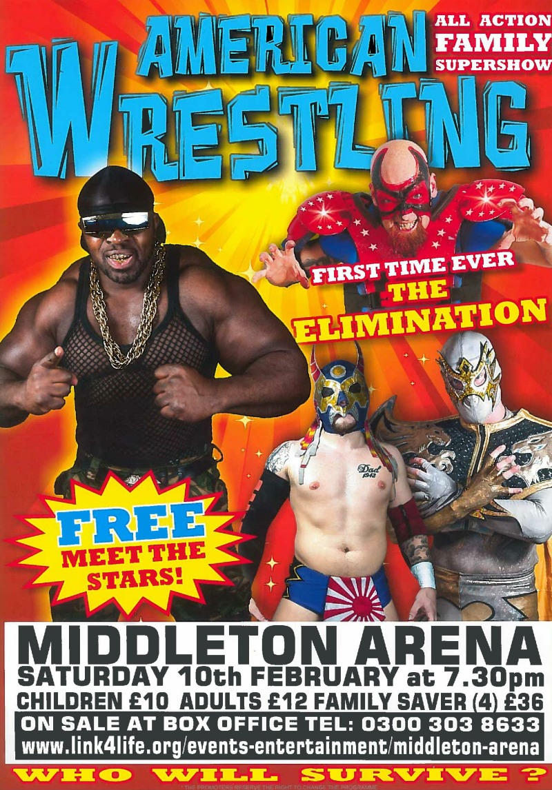 Live American Wrestling at Middleton Arena on Saturday 10 February