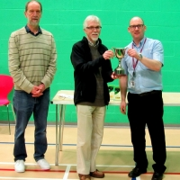 Jammy Dodgers being presented with the league trophy